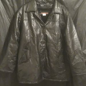 Tudor Court black leather  button up coat
